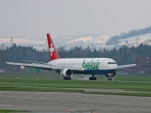Belair HB-ISE Boeing 767 Landung in Emmen